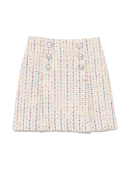 斜紋軟呢飾釦短裙