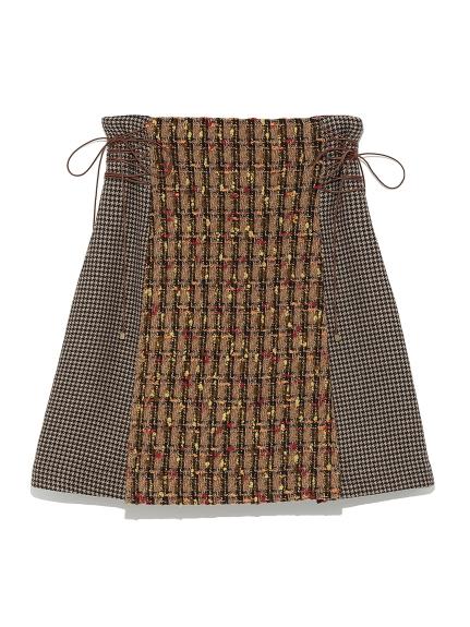 異素材格紋毛邊短裙