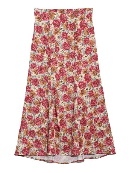 花柄印花傘襬長裙