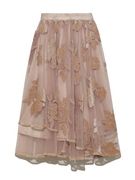 絲絨刺繡傘襬中長裙