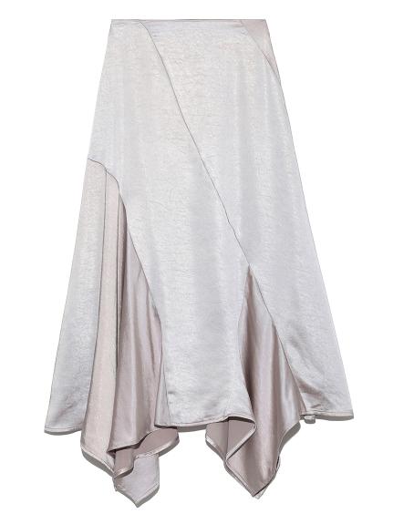 光澤感緞面傘襬長裙