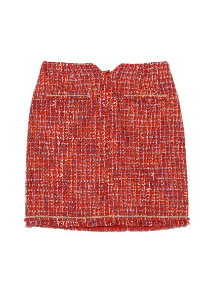 粗花呢台型短裙