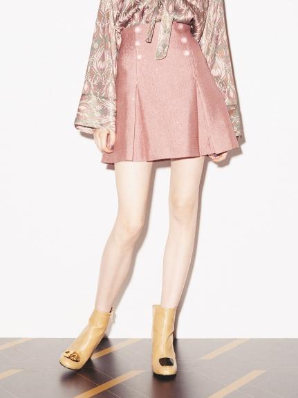 排釦造型傘襬短裙