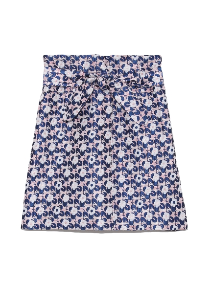 緹花編織幾何印花短裙