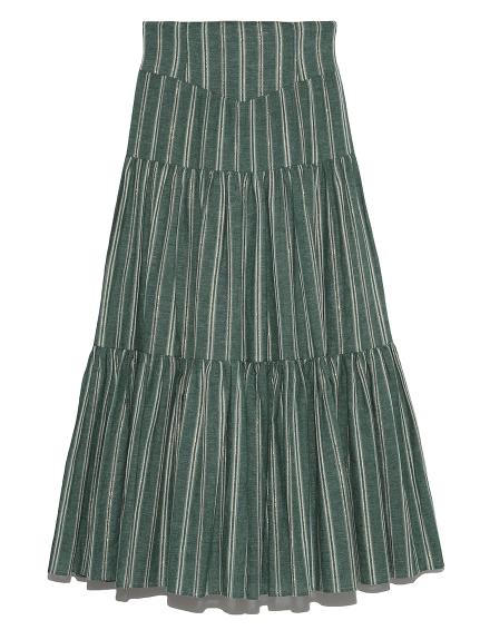 直條紋分層長裙