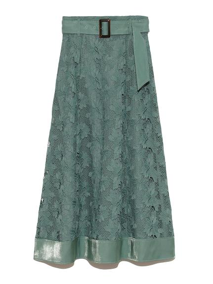裙襬拼接蕾絲長裙