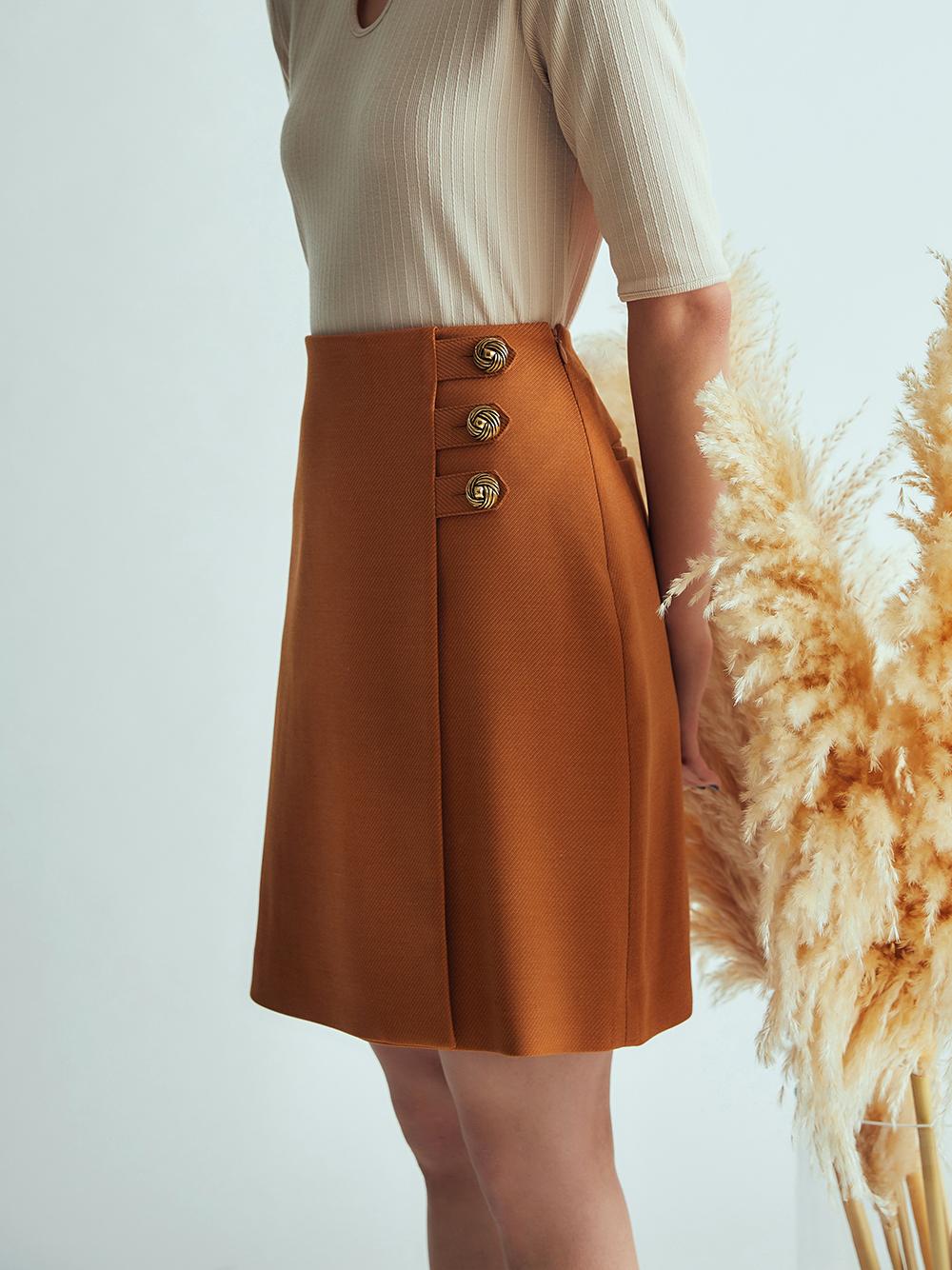 側釦A字短裙