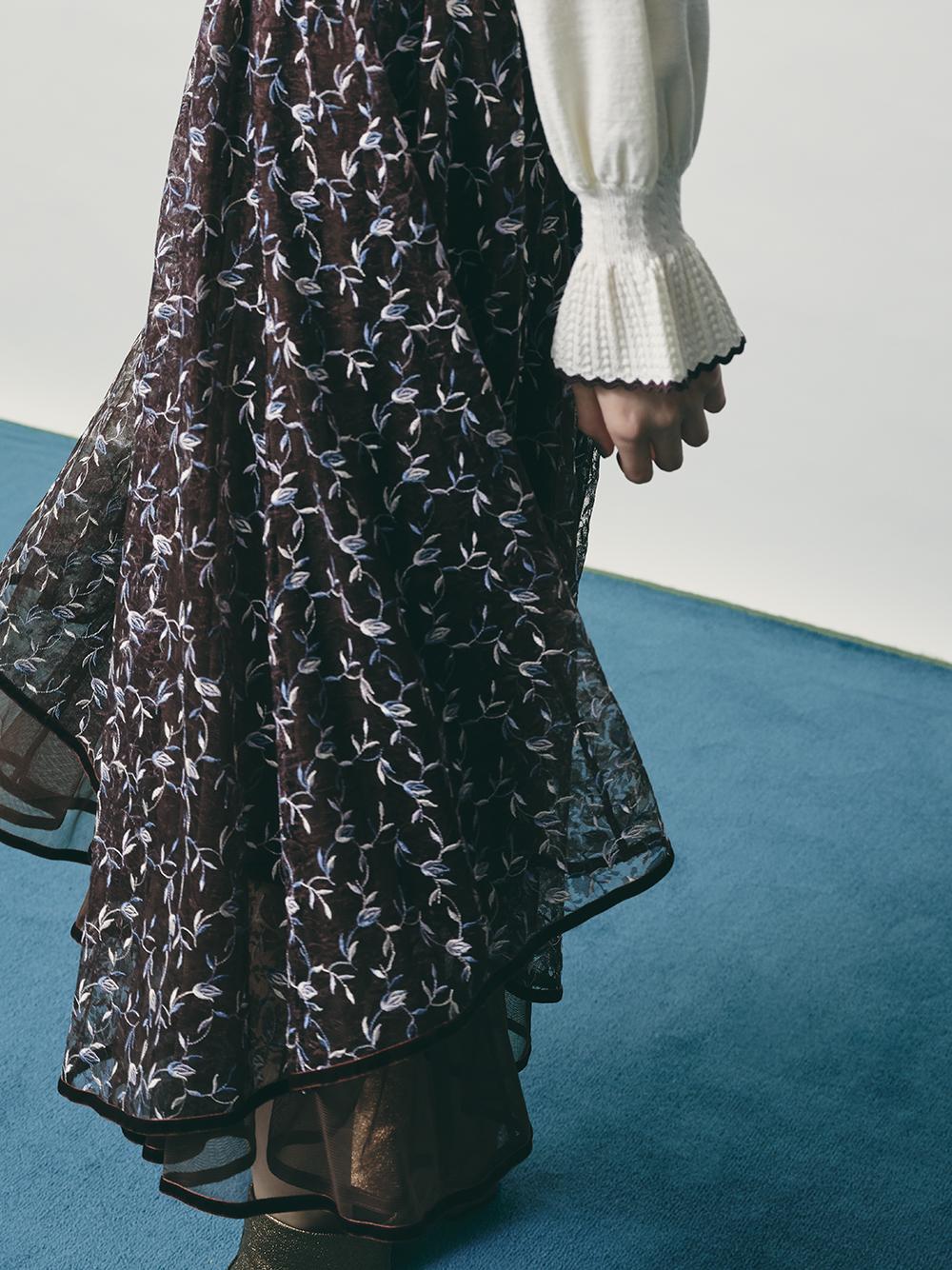 雪紡紗花朵刺繡長裙