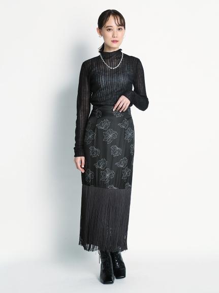 拼接緞澤流蘇長裙