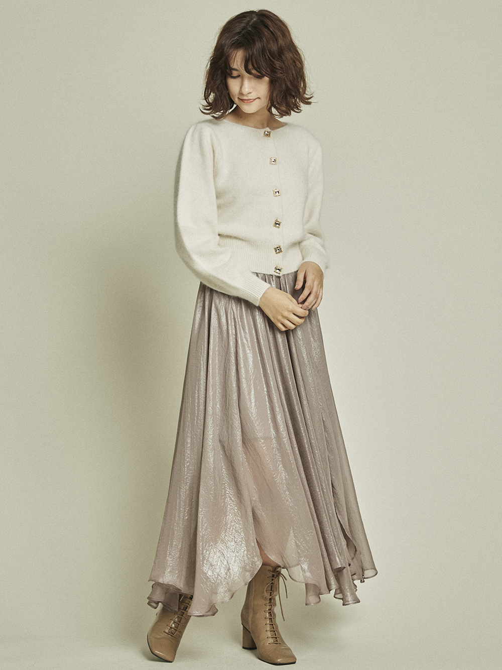 光澤雪紡長裙