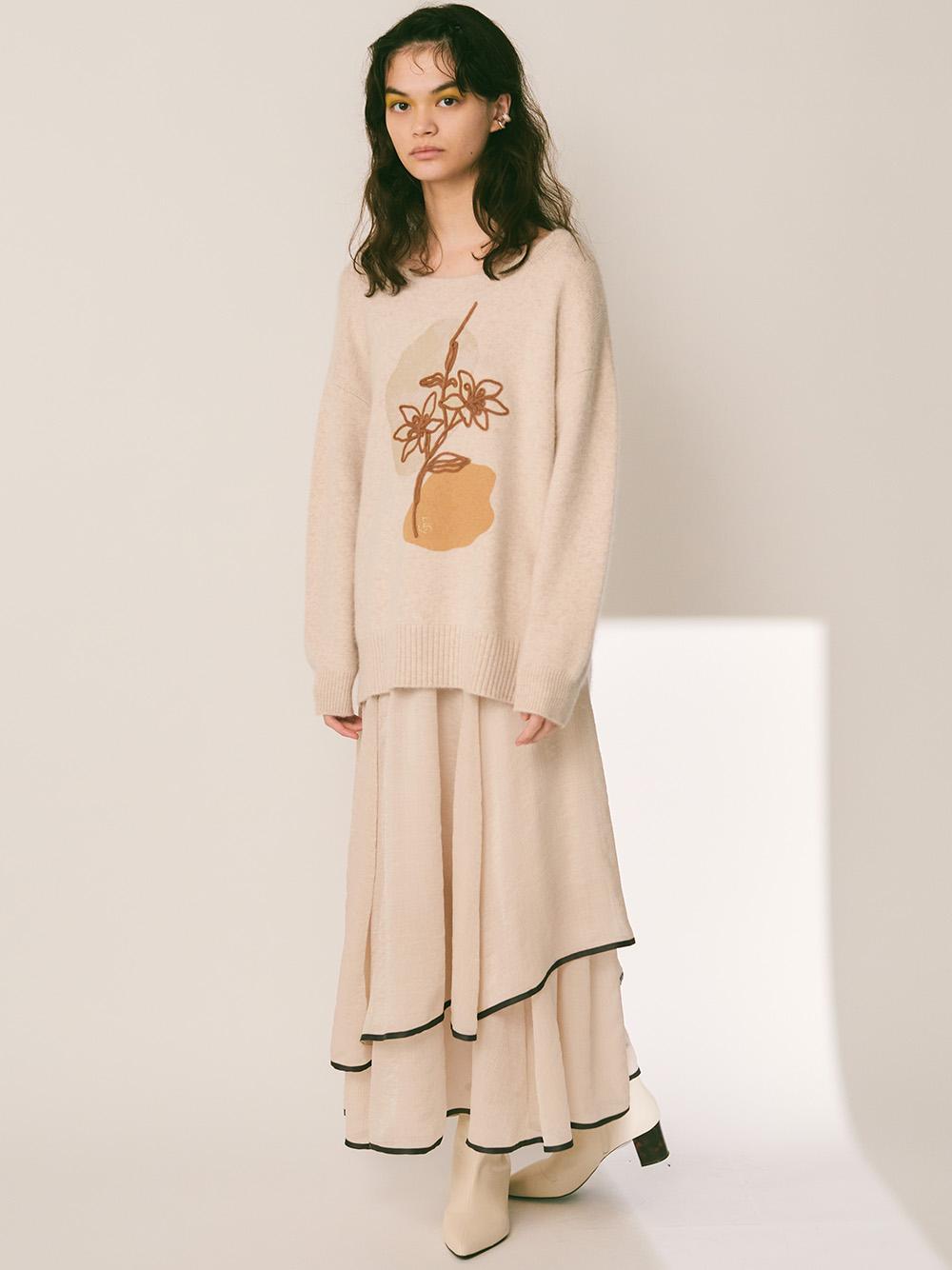 裙襬滾邊雪紡長裙