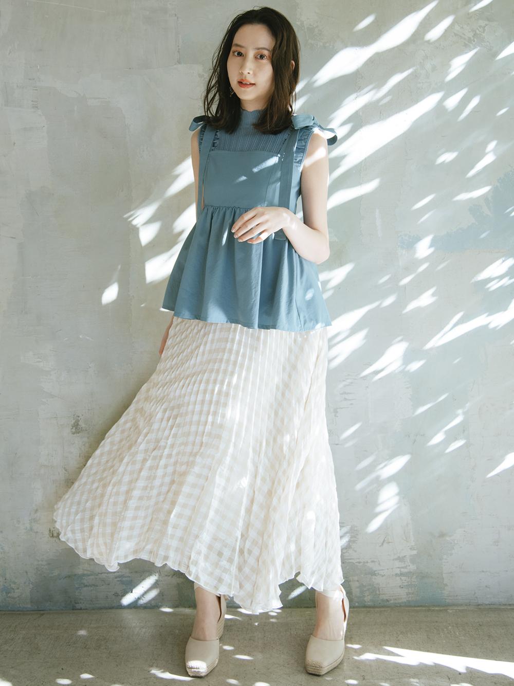 小格紋抓褶長裙