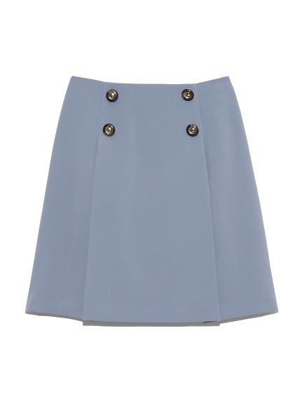 鈕釦設計打褶短裙