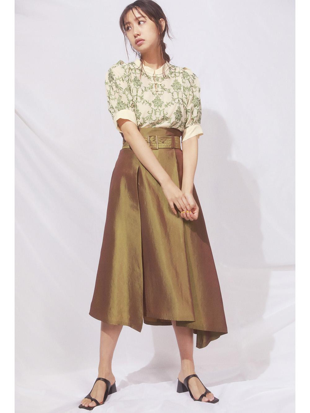 不對稱裙襬腰帶中長裙