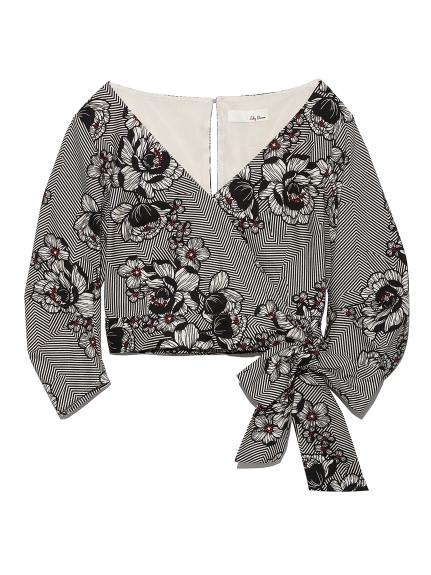 幾何花卉綁帶短版上衣