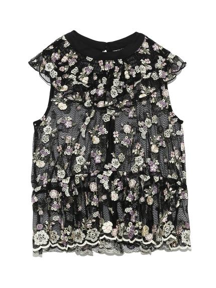 花卉刺繡網紗背心