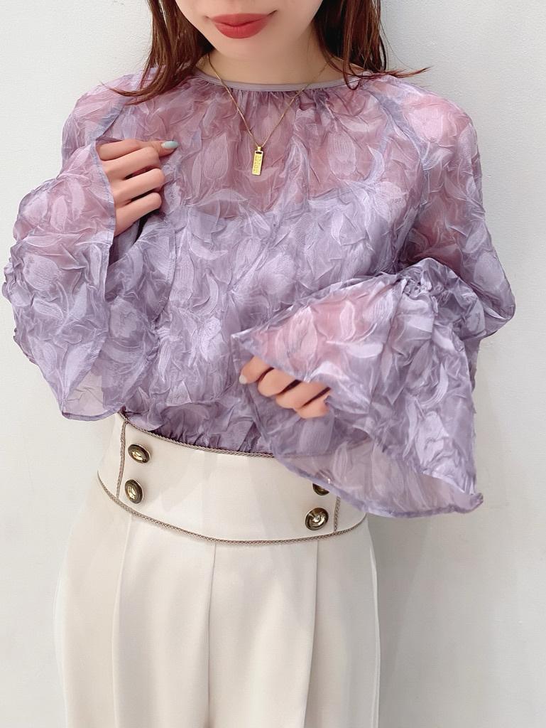 鬱金香印花縮袖上衣