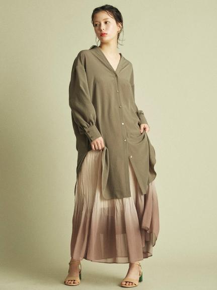 輕盈感雙縐綢長版襯衫