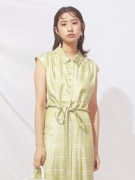 縮腰綁帶緞面襯衫