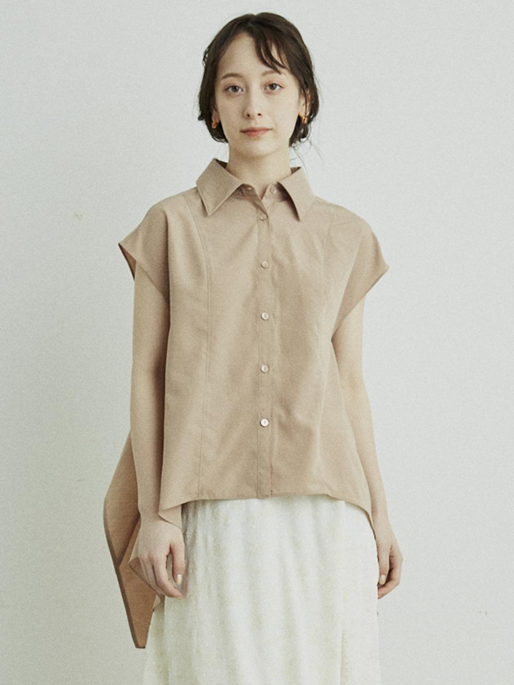 露背散襬襯衫
