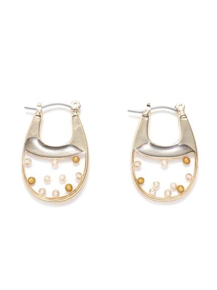 透明圓珠耳環