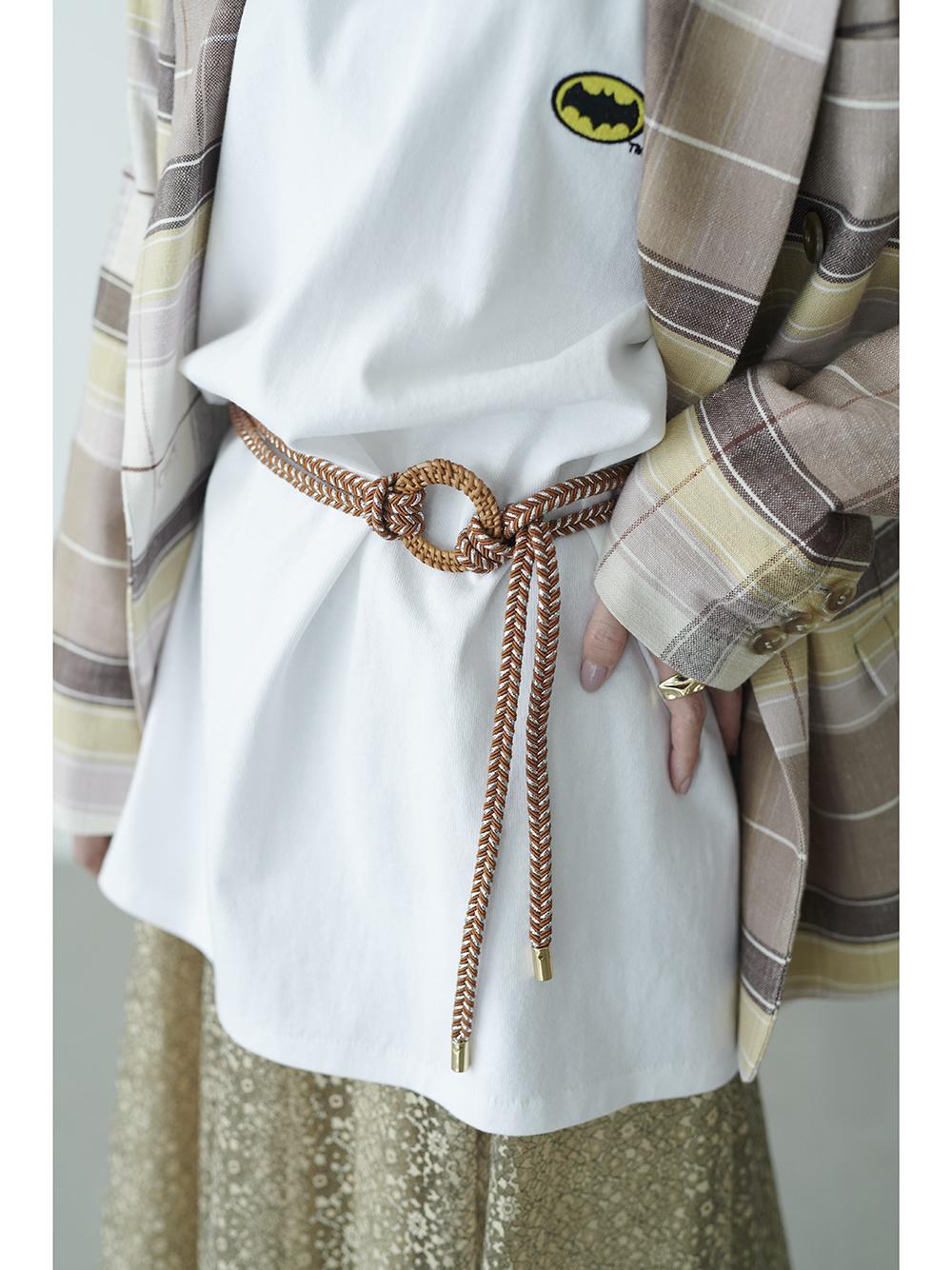 藤製扣環麻布皮帶