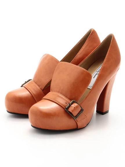 皮革前扣設計高跟鞋