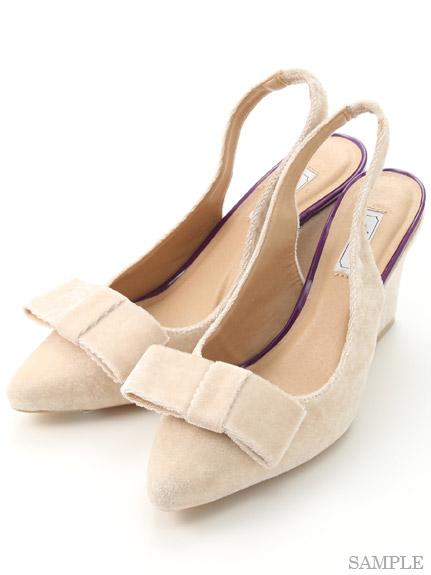 尖頭蝴蝶結楔型鞋