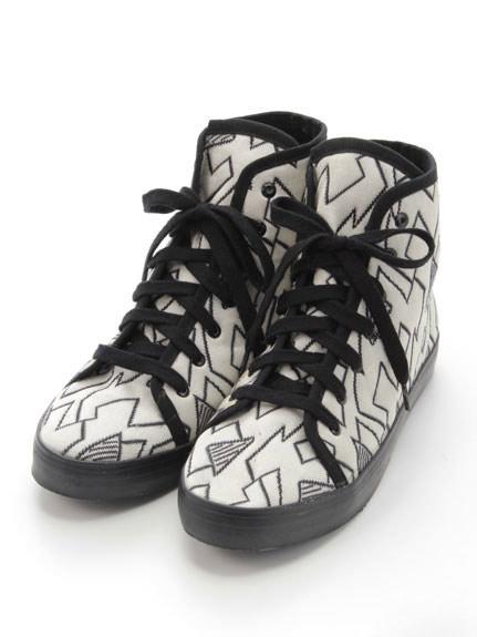 高筒刺繡帆布鞋