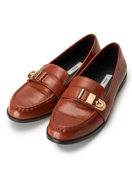 復古金屬皮革平底鞋