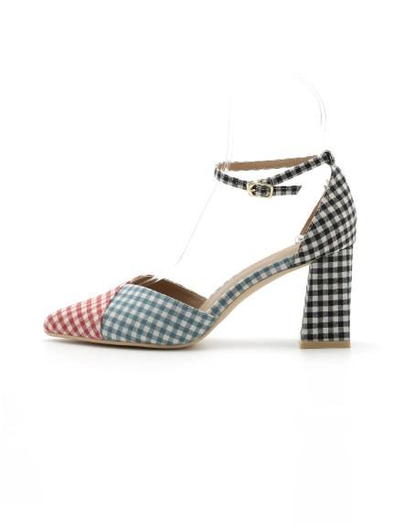 色塊設計感繫帶高跟鞋