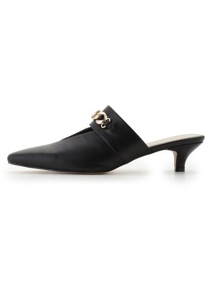 金屬鍊飾低跟穆勒鞋