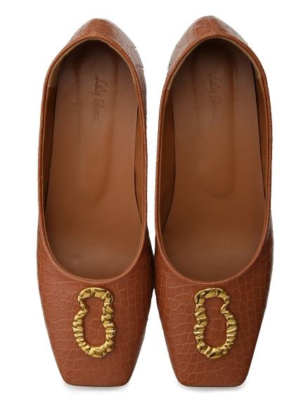 金屬裝飾平底鞋