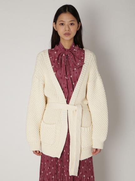 粗針織綁帶開襟罩衫