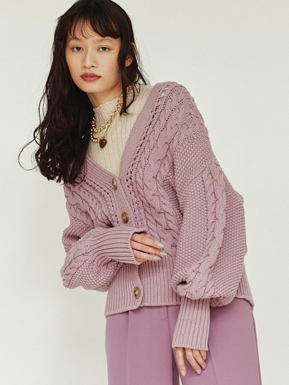 麻花編針織外套