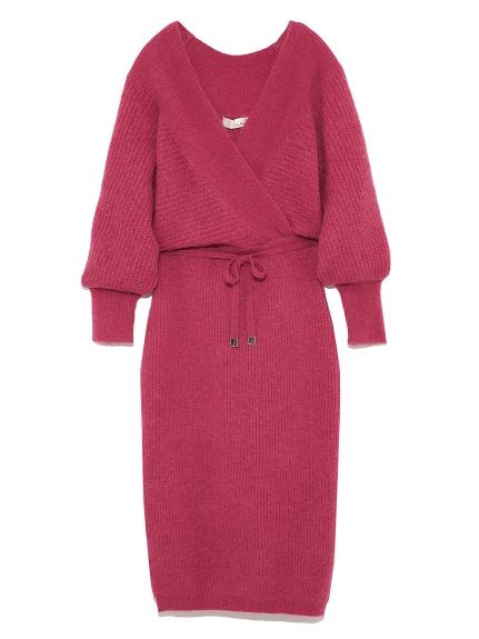 縮腰羊毛針織連身裙