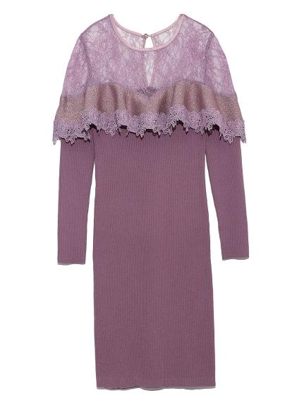 純色拼接蕾絲針織洋裝