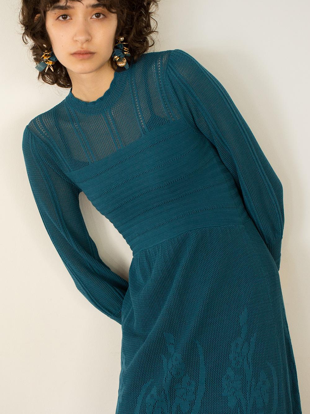 復古風透膚編織連身裙