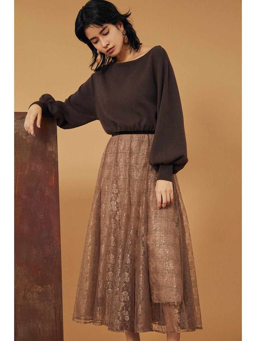 拼接蕾絲針織連身裙