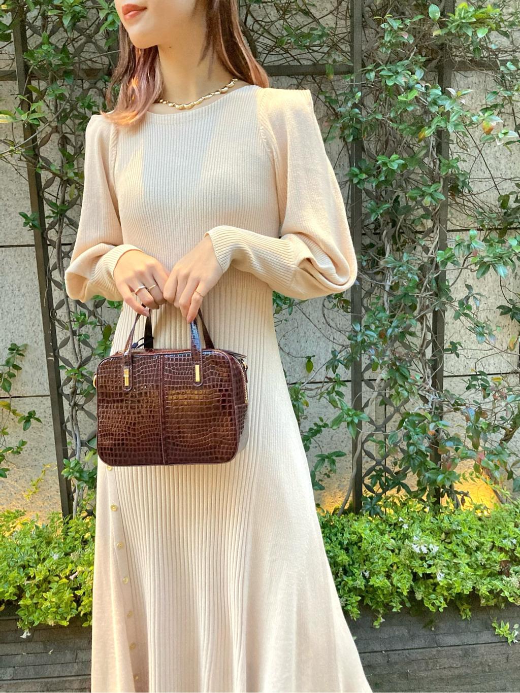 造型袖羅紋針織連身裙