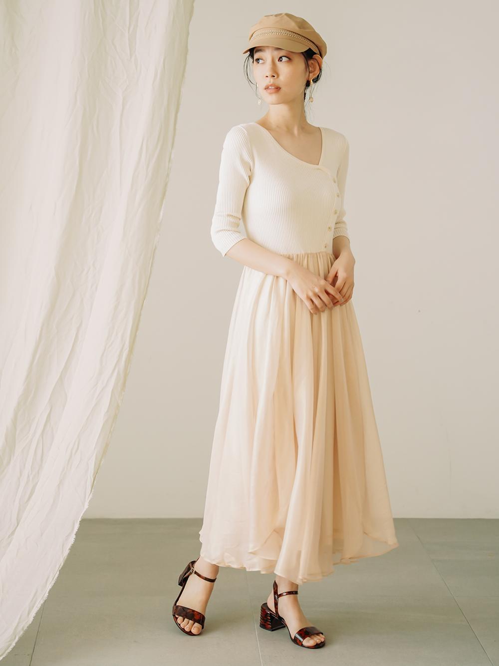 針織拼接連身裙
