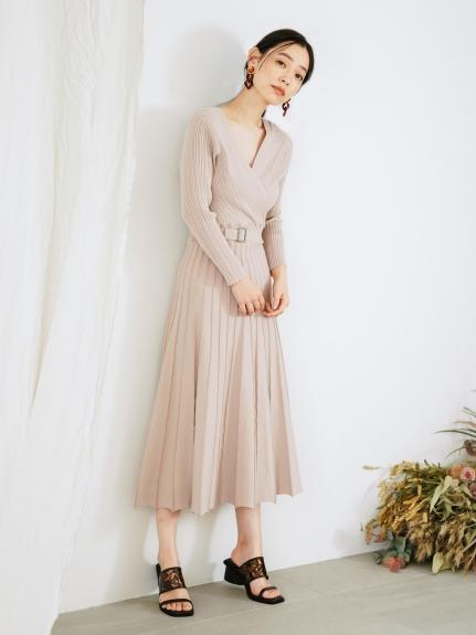 交叉領針織連身裙