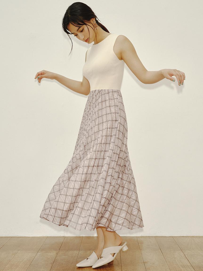透膚格紋針織連身裙