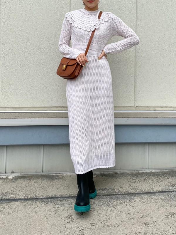 鉤針造型大片領連身裙
