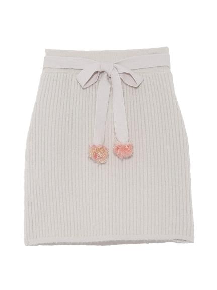 毛球針織短裙