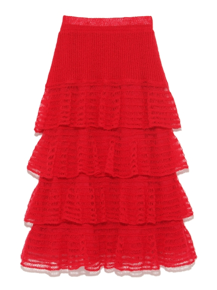 甜美荷葉層次針織長裙