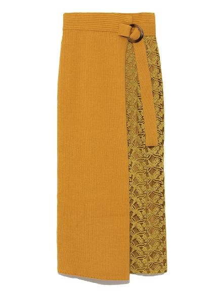 蕾絲拼接針織長裙