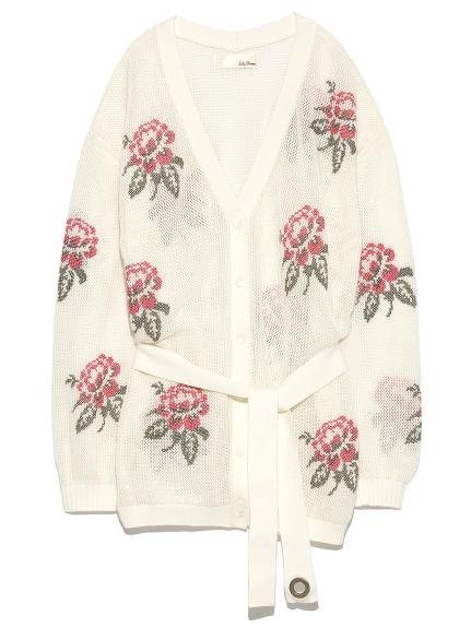 花朵網眼針織開襟外套