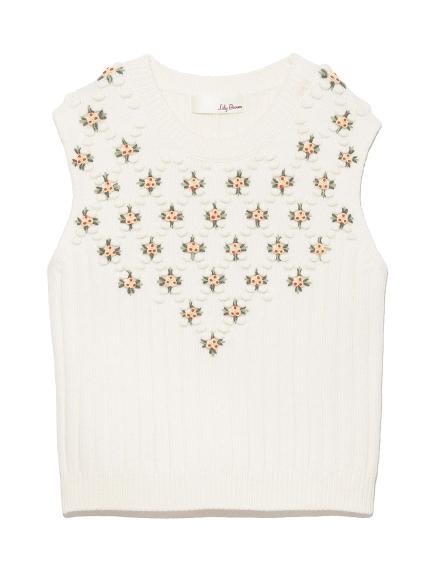 立體花卉刺繡針織背心