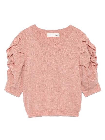 泡泡袖花邊造型針織衫